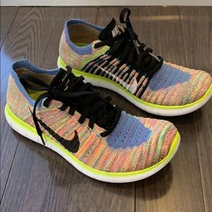 Shoes - Nike women's free run fly knit rainbow